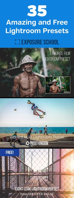 35 Amazing and Free Lightroom Presets - a collection of the best quality Adobe Lightroom presets that are available for free download http://minivideocam.com/starting-a-videography-service-from-scratch/