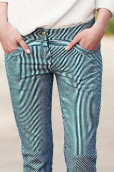Railroad Stripe Cut Pant