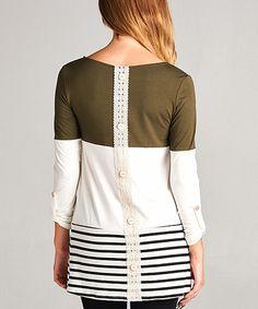 Look at this #zulilyfind! Olive & White Stripe & Color Block Button-Back Tunic #zulilyfinds
