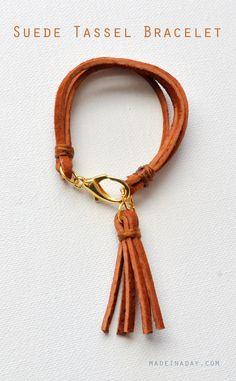 Suede Tassel Bracelet, leather tassel, easy craft, gold and leather bracelet, how to make a leather bracelet, suede tassel bracelet and necklace, embroidery