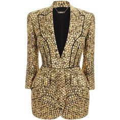 Alexander McQueen Gold Honeycomb Jacquard Bombe Hip Jacket (22.350 BRL) ❤ liked on Polyvore featuring outerwear, jackets, blazers, dresses, coats, gold, gold blazer, jacquard jacket, summer jacket and gold jacket