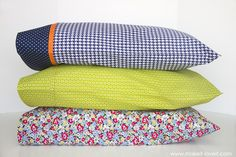 """DIY Bed Pillow Cases: 3 sizes and 3 different styles (including the """"burrito"""" method)   via Make It and Love It"""