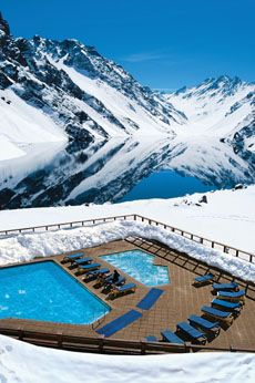 Portillo Ski Resort in Santiago, Chile : 15 exotic escapes for design lovers Places Around The World, Oh The Places You'll Go, Places To Travel, Around The Worlds, Places To Visit, Travel Sights, Amazing Swimming Pools, Cool Pools, Voyage Ski