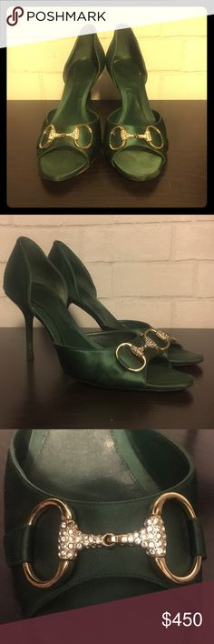 Gucci Heels Emerald green heels feature Gucci's signature horse bit adorned with crystals. These shoes have been gently loved but have no major flaws (stains, tears, etc.) Please feel free to ask questions! Gucci Shoes Heels