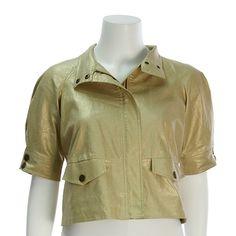 Diane Von Furstenberg Gold Linen Short-Sleeve Ramira Jacket - $99.99