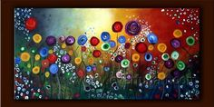 Wall Decor Art Handmade Colorful Flower Canvas Oil Painting(Framed)  $86.00  OBO