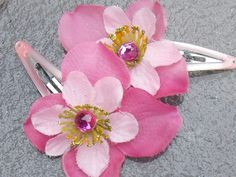 Pink Blossom Barrette Hair Clips with Gems and Glitter