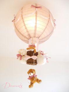 lampe enfant b b montgolfi re ours et oursonne peluche. Black Bedroom Furniture Sets. Home Design Ideas