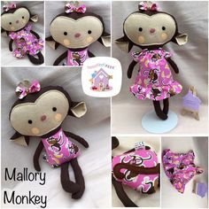 These adorable little lovelies are dress up Monkey Softies They are 17 inches tall soft toy and are handmade in designer fabrics of your choosing Sewing Clothes, Doll Clothes, Dolls And Daydreams, Handmade Soft Toys, Small Baby, Softies, Doll Toys, Baby Toys, Fabric Design