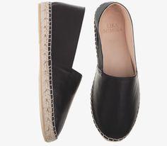 BLACK  Calf Leather   Espadrilles