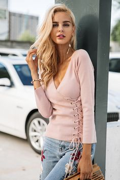 Simplee Causal lace up v neck knitted sweater women Slim skinny winter sweater  jumper 2017 Autumn knit pull femme pullover 54e7ae37d