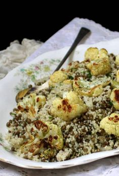 Vegan Recipes Easy, Whole Food Recipes, Cooking Recipes, Delicious Recipes, Cauliflower Couscous, Roasted Cauliflower, Plant Based Whole Foods, Vegetarian Entrees, Spring Recipes