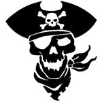 pirate skull in black version in this part we present designs with pirates and their attributes like ship, skull with bones or sworns. category of tattoo with pirates is popular among men. Designers Gráficos, Arte Tribal, Pirate Skull, Pirate Skeleton, Scroll Saw Patterns, Silhouette Cameo Projects, Vinyl Projects, Skull Art, Pyrography
