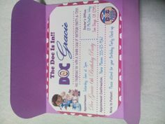 Doc Mcstuffins Inspired Invitations Set of 30 by DesignsByKerriB