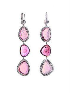 Diamond, sliced tourmaline & gold drop earrings