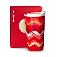 A double-walled ceramic coffee mug with a zig-zag design. Part of our Dot Collection.