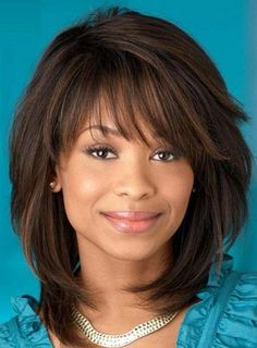 Sweet Layered Bob Hairstyle Mid-lenght Straight Capless Synthetic Wigs 14 Inches More