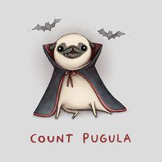 Count Pugula Mini Art Print by Sophie Corrigan - Without Stand - x Baby Animals, Cute Animals, Pug Cartoon, Pug Art, Pug Love, Canvas Prints, Art Prints, Funny Cute, Cute Dogs