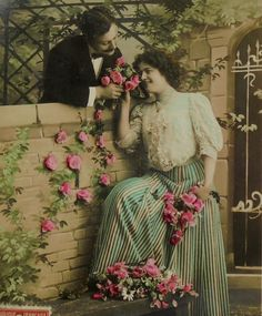 French Antique Postcard - Couple Talking in a Garden by ChicEtChoc on Etsy