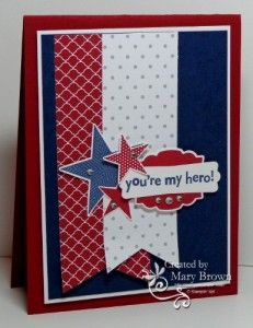 SU! Simply Stars, You're My Hero and Label Love stamp sets; Regals and Neutrals paper packs; colors are Whisper White, Cherry Cobbler and Night of Navy - Mary Brown