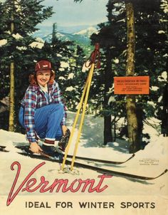 Nice departure from the usual toothpaste models!  1950s Vermont: Ideal for Winter Sports Ski Poster