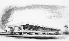 Sketch of Glasgow Airport terminal building ( 1962 ) by Sir Basil Spence: the renowned British architect was a wonderful draughtsman Glasgow Airport, Coventry Cathedral, Brutalist, Art Day, Airports, Britain, Louvre, Architecture, Building