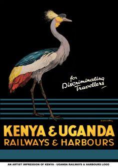 """Kenya & Uganda, Railways & Harbours """"for Discriminating Travellers"""" vintage travel poster. ~via Vintage Advertising and Poster Art, FB"""
