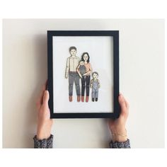 FRAMED Paper Doll Portrait by JordanGraceOwens, based in the US and selling on Etsy Fun Family Portraits, Ribba Frame, Banner, Illustrations, Paper Dolls, Special Gifts, Wedding Gifts, Invitations, Etsy Shop