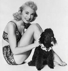 corbis images 1950's | Janet Leigh in Bathing Suit with Poodle