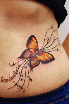 Designs Butterfly Tattoo On Stomach
