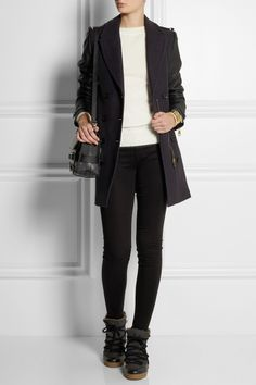Burberry Brit|Wool-blend and leather coat |NET-A-PORTER.COM