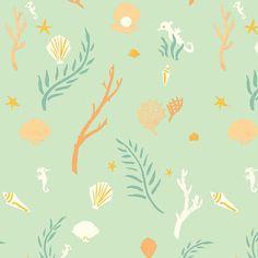 Birch Fabrics - Organic Cotton - Saltwater - Flotsam & Jetsam Seamint - Poplin by the Yard