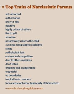 Top traits of narcissistic parents