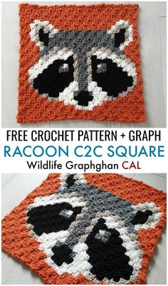 Free Crochet Pattern + Graph: Racoon Square – Wildlife Graphghan CAL Block 7 Week 7 of the Wildlife Graphghan CAL comes with an adorable Racoon Square. Find the free crochet pattern + graph on. Crochet Afghans, Crochet C2c, Motifs Afghans, Afghan Patterns, Crochet Chart, Crochet Squares, Crochet Blanket Patterns, Crochet Stitches, Knitting Patterns
