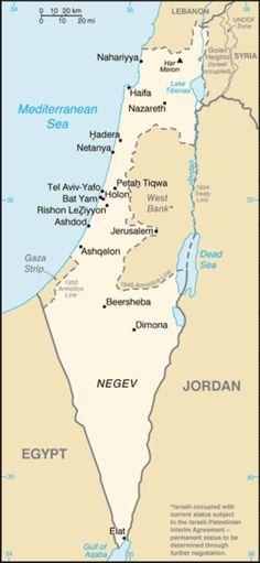 パレスチナ:第一次中東戦争 停戦ライン - グリーンライン - File:Cia-is-map2.png