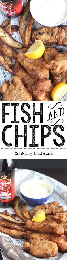 Beer-battered fish fillets are served with crispy baked fries in this fish and chips recipe.