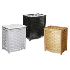 Oceanstar Bowed Front Veneer Wood Laundry Hampers - BedBathandBeyond.com