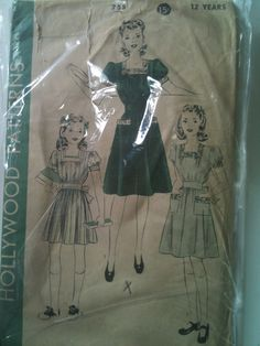 Hollywood #755. Girls' dress, with or without pockets, size 12 years. Looks to be from the 1940's.