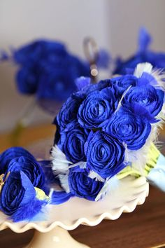 Royal blue wedding bouquet in paper for a bride | Paper Flowers Handmade Tutorials DIY