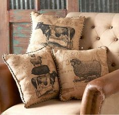 Burlap Farm Animal Motif Pillow w/ Checked Trim