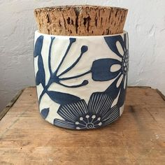 Added this large canister to my online shop as well. The cork is across a beauty. Ceramic Boxes, Ceramic Jars, Porcelain Ceramics, Ceramic Pottery, Pottery Art, Pottery Shop, Sgraffito, Ceramic Techniques, Pottery Techniques