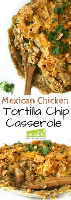 Mexican chicken tortilla chip casserole combines the crunch of tortilla chips with Mexican flavors in this delicious dinner meal. Rotisserie chicken and jared salsa make for quick dinner prep and then bakes into a satisfying healthy family meal for any ni Easy Chicken Recipes, Easy Dinner Recipes, Easy Meals, Appetizer Recipes, Quesadillas, Enchiladas, Burritos, Mexican Food Recipes, Healthy Recipes