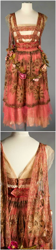 Evening dress, by Callot Soeurs, France, 1916-17. Silk satin, net, velvet, millinery flowers, glass and metallic embroidery. The Robert and Penny Fox Historic Costume Collection, Drexel University, via Google Cultural Institute.