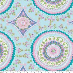 Aqua Haute Circles Fabric By Carousel Designs