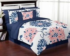 Navy Blue and Coral Ava 3pc Girls Teen Full / Queen Bedding Set Collection by Sweet Jojo Designs - Click to enlarge