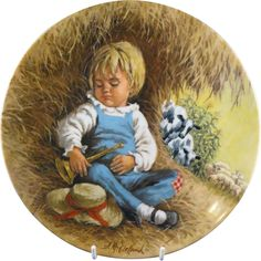 """""""Little Boy Blue"""" by John McClelland Mother Goose Collector Plate 1982."""