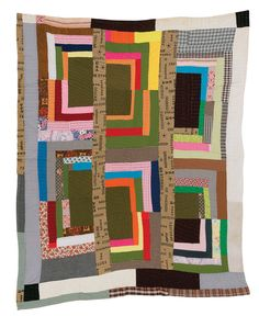 """Quilts of Gees Bend: Lillie Mae Pettway, """"Housetop""""--twelve-block """"Half-Logcabin"""" variation, ca. cotton, wool corduroy, 77 x 65 inches. Textiles, Gees Bend Quilts, African Quilts, Memory Pillows, Log Cabin Quilts, Philadelphia Museum Of Art, Art Textile, Vintage Quilts, Antique Quilts"""