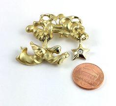 Vintage Gold Tone Angel Cloud Rhinestone Signed Giusti Jewelry Brooch Pin
