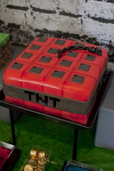 TNT Cake at a Minecraft Party