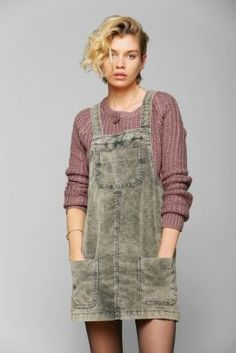 BDG Washed Corduroy Overall Skirt